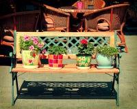 Retro bänk. Blommor i krukar Royaltyfria Foton