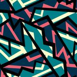 Retro błękitny geometryczny bezszwowy wzór Fotografia Royalty Free