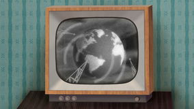 Retro b&w TV set. Retro b&w TV set showing news intro before switching to green (chroma key) background, then switching to TV test and finally switching off stock video footage