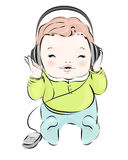 Retro baby boy in headphones Royalty Free Stock Photography