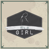 Retro Baby card - Its a girl theme Royalty Free Stock Photography