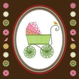 Retro Baby Carriage and bird. Vintage Baby carriage Pram with multi-patterns and flowers to side Stock Image