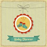 Retro baby shower card with little socks Stock Image