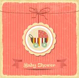 Retro baby shower card with stroller Royalty Free Stock Photos