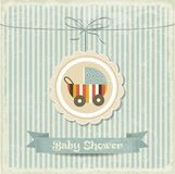 Retro baby shower card with stroller. Vector format Royalty Free Stock Photo