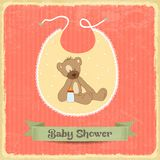Retro baby shower card with teddy bear Stock Photography