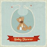Retro baby shower card with teddy bear Stock Photo