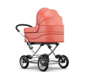 Retro baby stroller.  For boy. 3d rendering. Royalty Free Stock Photo