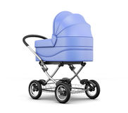 Retro baby stroller isolated on white background. 3d rendering Stock Photo