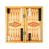 Retro backgammon game. And dices, isolated on white background stock image