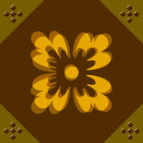 Retro background. With a yellow flower Stock Images