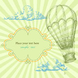 Retro background. With hot air balloon Stock Images