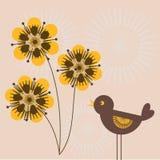 Retro background. Bird and stylized flowers - retro background Royalty Free Illustration