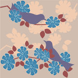 Retro background. Retro stylized background - birds in blossom Vector Illustration