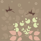 Retro background. Retro stylised floral and birds background vector illustration