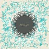 Retro background. Vintage floral background lace label Stock Photo