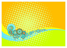 Retro Background. With circles, wavy lines and halftone dots in bright summery colours Stock Photo