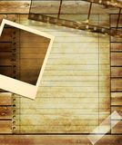 Retro background. Vintage ackground with page and film strips Royalty Free Stock Photography