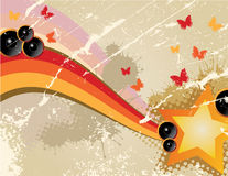 Retro background. With stars and butterflies Vector Illustration