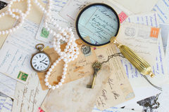 Retro background with antiques Stock Images