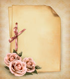 Retro background with beautiful pink rose Royalty Free Stock Photo