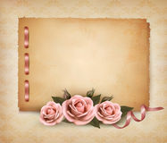 Retro background with beautiful pink rose Royalty Free Stock Photography