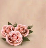 Retro background with beautiful pink roses stock illustration