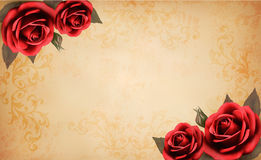 Retro background with beautiful red rose and old p Royalty Free Stock Photos