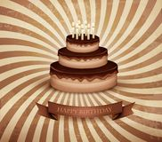 Retro background with birthday chocolate cake. Stock Images