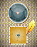Retro background with clocks and feather. Royalty Free Stock Images