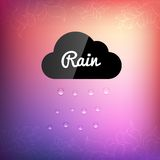 Retro background with cloud rain drop icon Stock Images