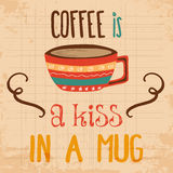 Retro background with coffee quote Stock Photo