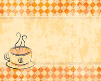 Retro background with a cup of coffee Stock Photos