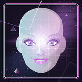 Retro background face. Face with Retro 80's Style Background Pyramid Triangle Cosmic Space,  illustration cartoon Royalty Free Stock Image