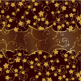 Retro background with floral elements. Retro pattern with floral elements on brown background vector illustration