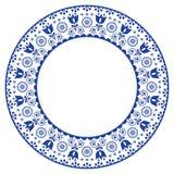 Folk art round ornamental frame, Scandinavian vector design in circle, floral composition Royalty Free Stock Photos