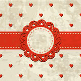 Retro background with a frame and heart pattern Stock Photo