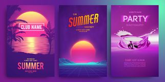Retro background futuristic landscape 1980s style. Cocktail party, Electronic music fest, electro summer poster. Abstract gradients music background. EPS 10 stock illustration