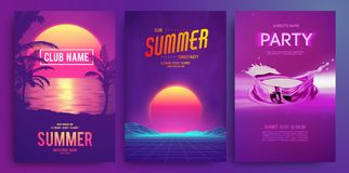 Retro background futuristic landscape 1980s style. Cocktail party, Electronic music fest, electro summer poster. Abstract gradients music background. EPS 10 Vector Illustration