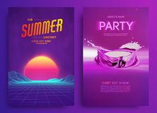 Retro background futuristic landscape 1980s style. Cocktail party, Electronic music fest, electro summer poster. Abstract gradients music background. EPS 10 royalty free illustration