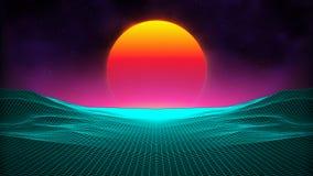 Retro background futuristic landscape 1980s style. Digital retro landscape cyber surface. Retro music album cover. Template : sun, space, mountains . 80s Retro Stock Photo