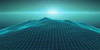Retro background futuristic landscape 1980s style. Digital retro landscape cyber surface. Retro music album cover. Template : sun, space, mountains . 80s Retro Stock Photos
