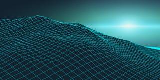 Retro background futuristic landscape 1980s style. Digital retro landscape cyber surface. Retro music album cover. Template : sun, space, mountains . 80s Retro Stock Photography