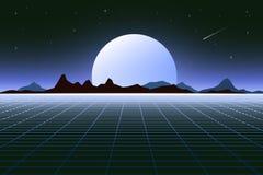 Retro background futuristic landscape 1980s style. Digital retro landscape cyber surface. Retro music album cover. Template sun, space, mountains . Vector Royalty Free Stock Images