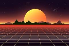 Retro background futuristic landscape 1980s style. Digital retro landscape cyber surface. Retro music album cover. Template sun, space, mountains . Vector Stock Photo