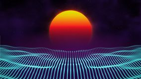 Retro background futuristic landscape 1980s style. Digital retro landscape cyber surface. 80s party background . Retro. 80s fashion Sci-Fi Background Summer Stock Image