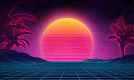 Retro background futuristic landscape 1980s style. Digital retro landscape cyber surface. 80s party background . Retro Royalty Free Stock Photo