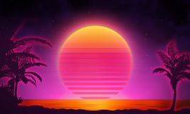 Retro background futuristic landscape 1980s style. Digital retro landscape cyber surface. 80s party background . Retro Royalty Free Stock Photography