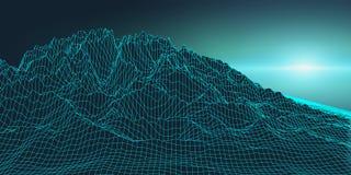 Retro background futuristic landscape 1980s style. Digital retro landscape cyber surface. Retro music album cover. Template : sun, space, mountains . 80s Retro Royalty Free Stock Images