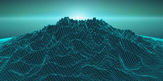 Retro background futuristic landscape 1980s style. Digital retro landscape cyber surface. Retro music album cover. Template : sun, space, mountains . 80s Retro Royalty Free Stock Photo